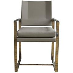 Maclaren Type 2 Dining Chair in Polished Stainless Steel and Light Grey Leather