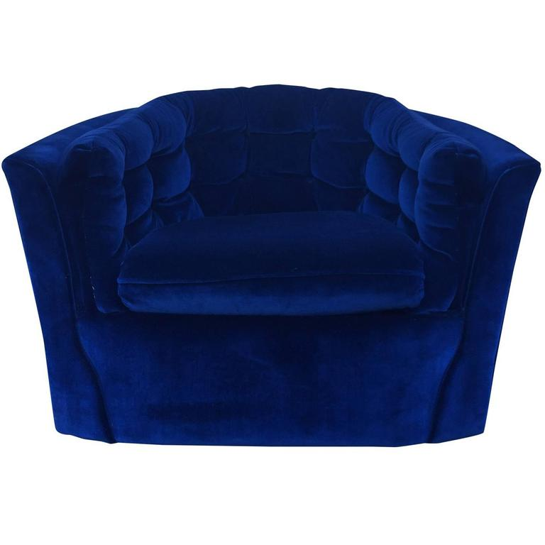 Royal Blue Velvet Mid Century Modern Swivel Chair For