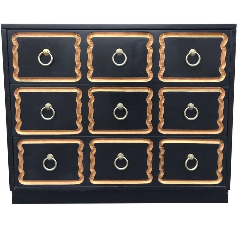 Dorothy Draper Black and Gold Espana Chest For Sale