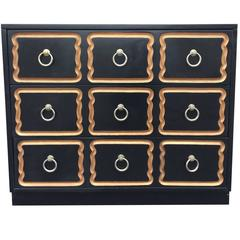 Dorothy Draper Black and Gold Espana Chest