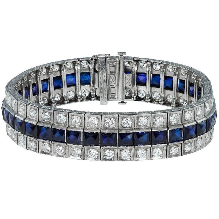 Antique 20th Century Art Deco Platinum, Sapphire & Diamond Bracelet, circa 1930 For Sale