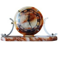 Mid-Century Acrylic and Marble Modernist Mantel Clock
