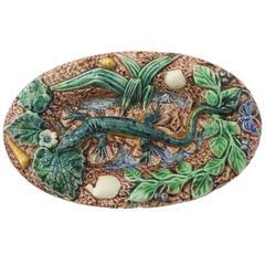 19th Century Majolica Palissy Lizard Wall Platter Thomas Sergent