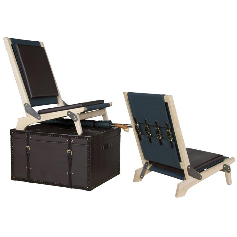 RWD Officer's Field Set, Leather Clad with White Oak Folding Chairs
