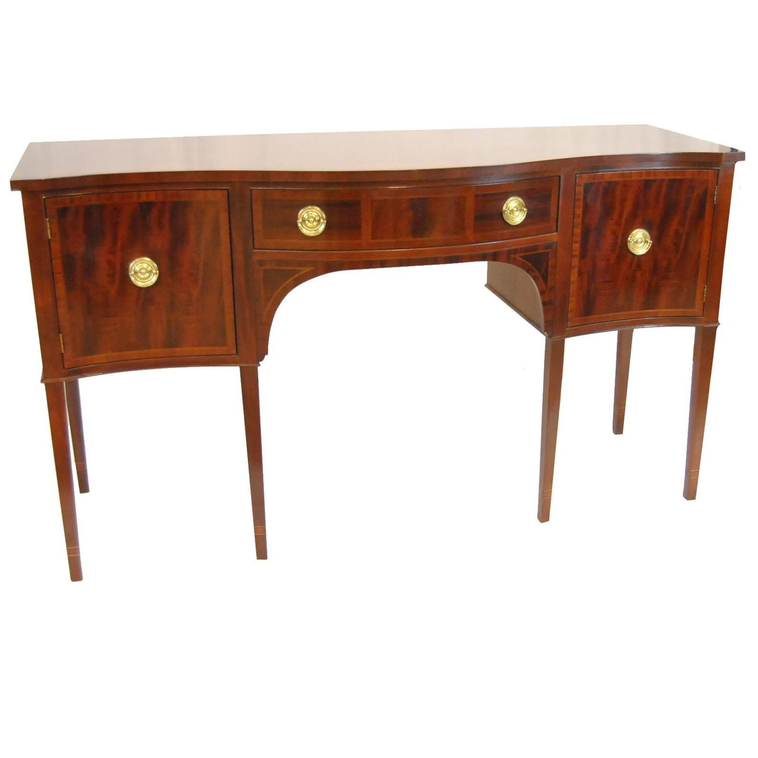 Baker Feathered Mahogany Hepplewhite Sideboard at 1stdibs