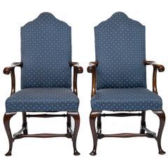 19th Century Pair of Walnut Open Armchairs
