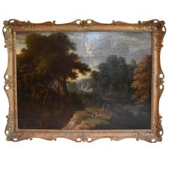 17th Century English Landscape in Giltwood Frame