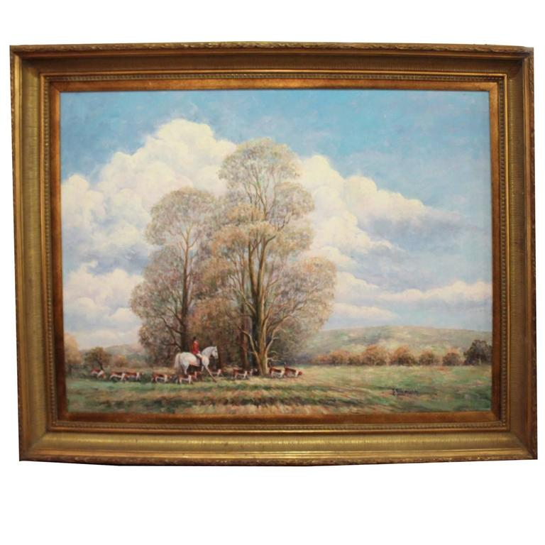 Large Horse Hunt Oil Painting By Gail Sherman Corbett For