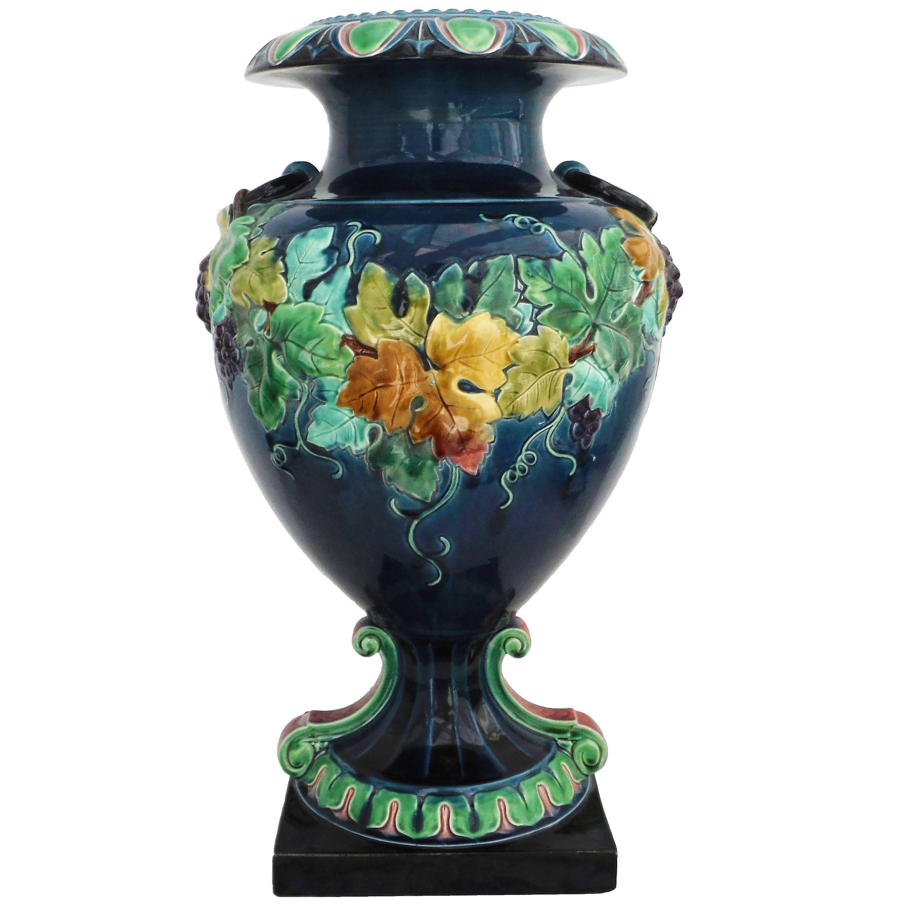 19th French Monumental Renaissance Style Majolica Grapes Blue Vase