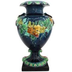 19th Century French Monumental Renaissance Style Majolica Grapes Blue Vase