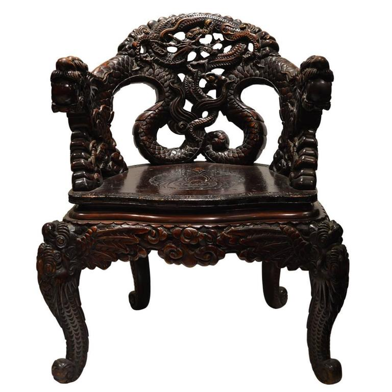 Asian Wood Arm Chairs ~ Chinese carved dragon armchair at stdibs