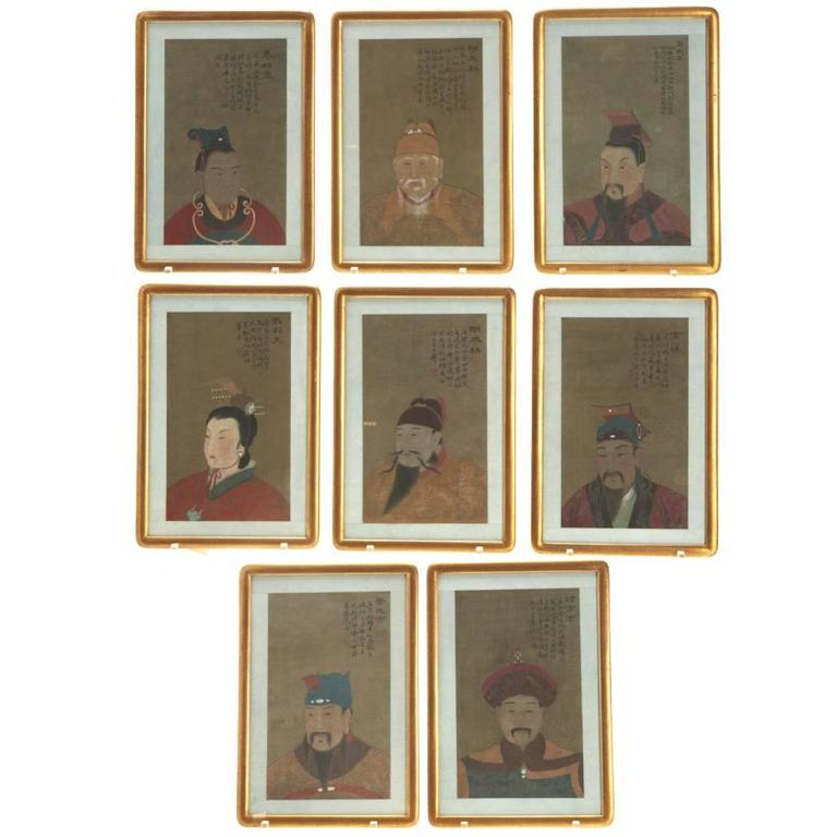Eight Antique Chinese Ancestral Portraits, circa 1900 For Sale