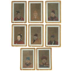 Eight Antique Chinese Ancestral Portraits, circa 1900