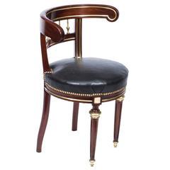 Antique French Empire Brass Inlaid Desk Music Chair, circa 1880