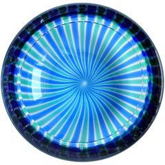 Fratelli Toso Murano Blue Green Ribbons Italian Art Glass Dish Bowl
