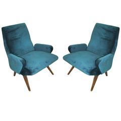 Pair of Italian Armchairs designed by Nino Zoncada.