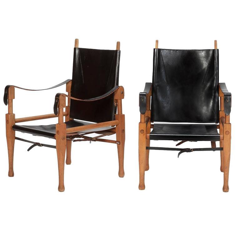 Pair of Swiss Wilhelm Kienzle Leather and Oak Safari Chairs, 1950s