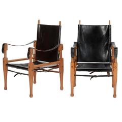 Pair of Swiss Wilhelm Kienzle Leather and Oak Safari Chairs, 1950s