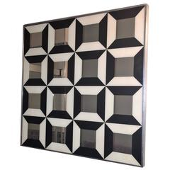 Great Verner Panton Black and White Optical Mirror