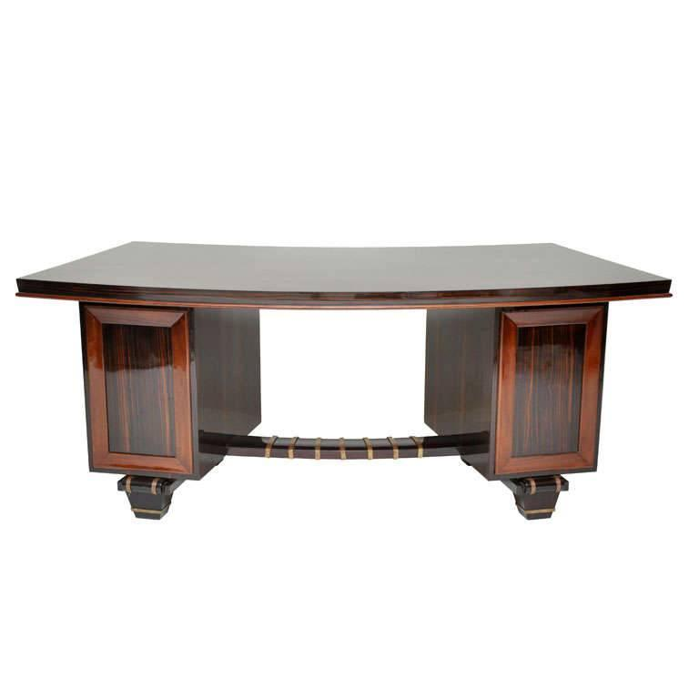 French Art Deco Macassar Ebony Desk in the Manner of Emile-Jacques Ruhlmann