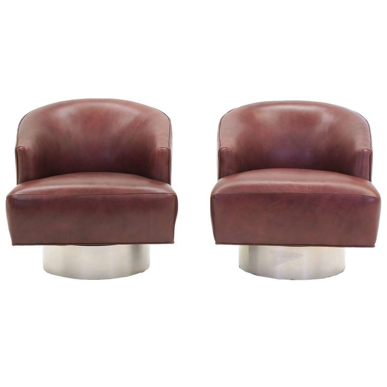 Pair of Milo Baughman Leather and Brushed Steel Swivel Barrel Lounge Chairs