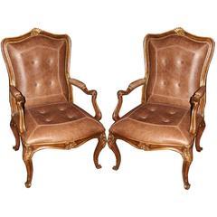 Pair of 18th Century Italian Louis XV Walnut and Parcel-Gilt Armchairs