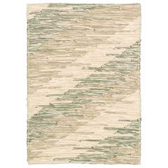 Contemporary Italian 'Intreccio Diagonale' Carpet, Beige and Green