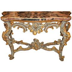 18th Century Venetian Rococo Pale Blue Polychrome and Parcel-Gilt Console
