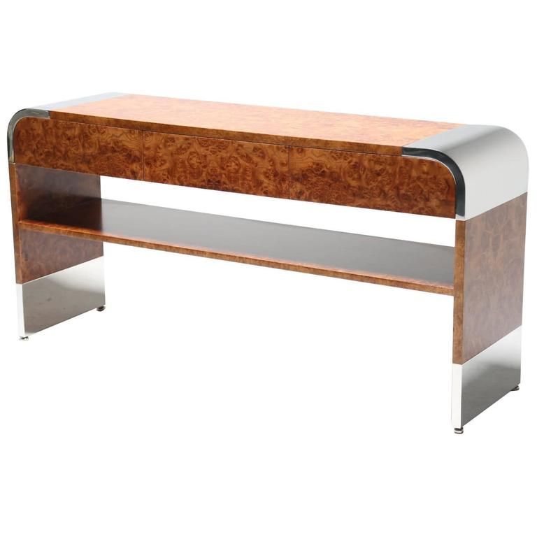 Pace Collection chrome and burlwood console table by Leon & Irving Rosen.