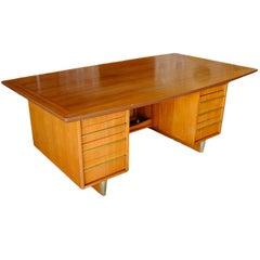 "Mid-Century ""The Boss"" Mahogany Executive Desk with Brass Pulls"