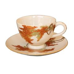 20th Century Japanese Cup and Saucer, Satsuma Ceramics by Yabu Meizan, Red Maple