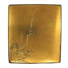 18th Century Golden Calligraphy Set Box with Plum Blossoms, Rinpa Suzuribako
