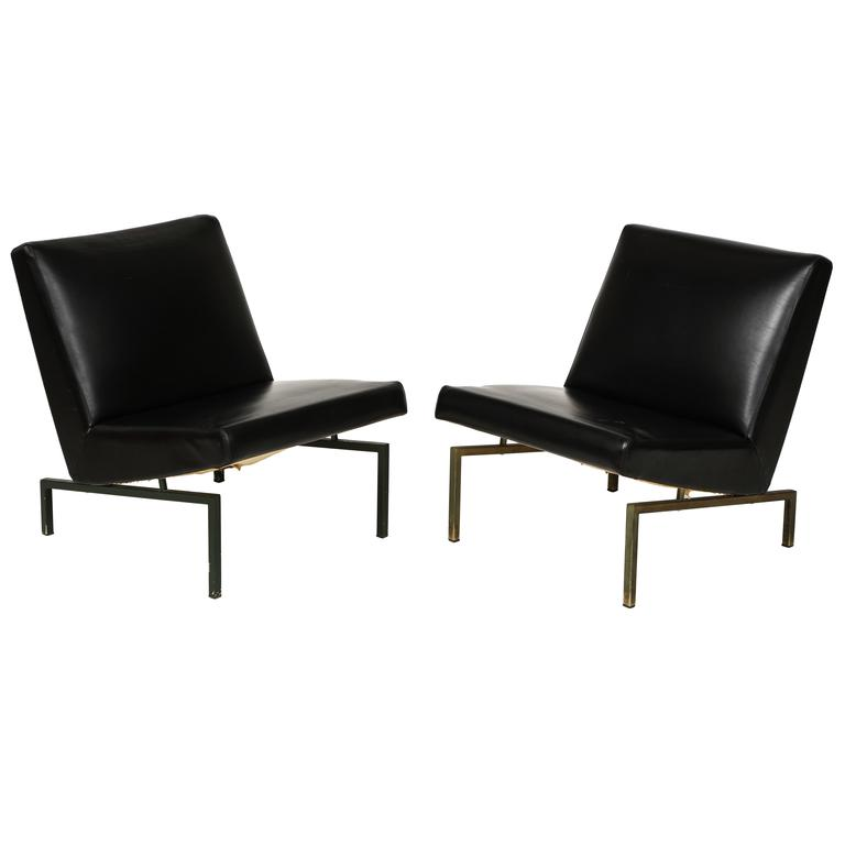 Joseph Andre Motte Black Tempo Pair Lounge Chairs Brass Mid-Century, France