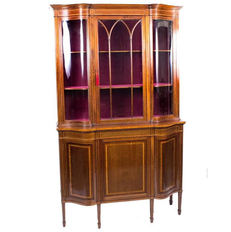 Early 20th Century Edwardian Serpentine Inlaid Display Cabinet For Sale