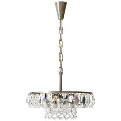 Bakalowits Chandelier Pendant Light no. 3669, Crystal Glass Nickel, 1960