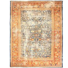 Large Light Blue Shabby Chic Antique Sultanabad Rug