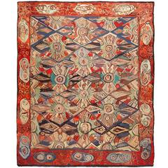 Breathtaking Antique Hooked Rug