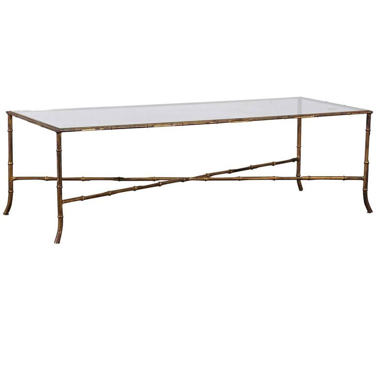Mid Century Gilt Faux Bamboo Coffee Table In The Style Of Bagues At 1stdibs