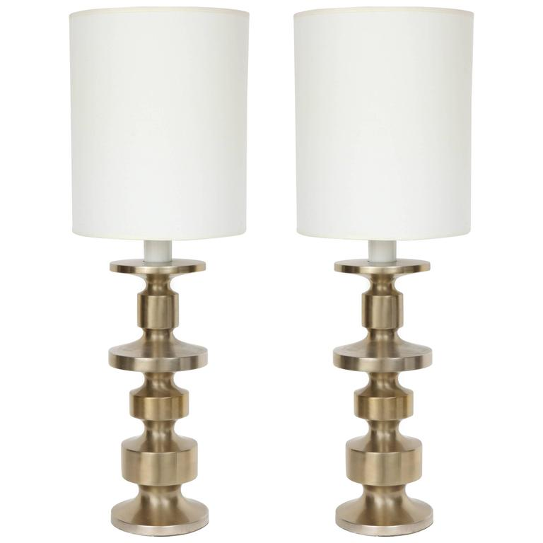 Pair of Modernist Brushed Steel Totem Table Lamps 1