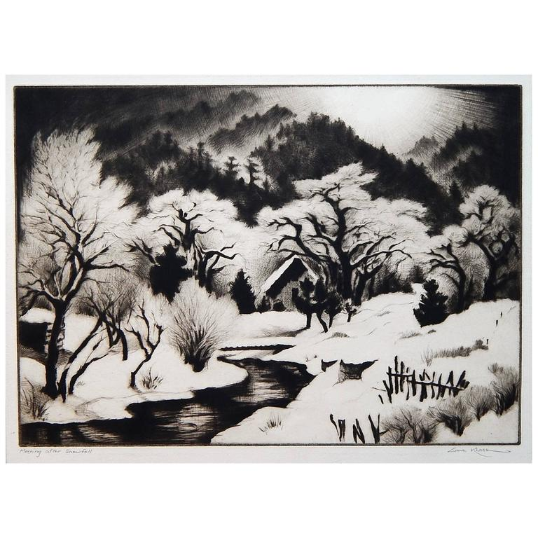 "Taos Artist Gene Kloss Original Drypoint, ""Morning After Snowfall"""
