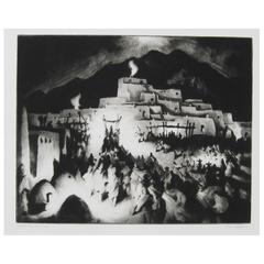 Taos Artist Gene Kloss Original Drypoint, Christmas Eve, Taos Pueblo