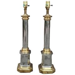 Pair of Mid-20th Century Brass and Steel Column Lamps
