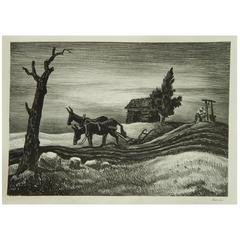 "Thomas Hart Benton Original Lithograph, 1937, ""Drink of Water"""