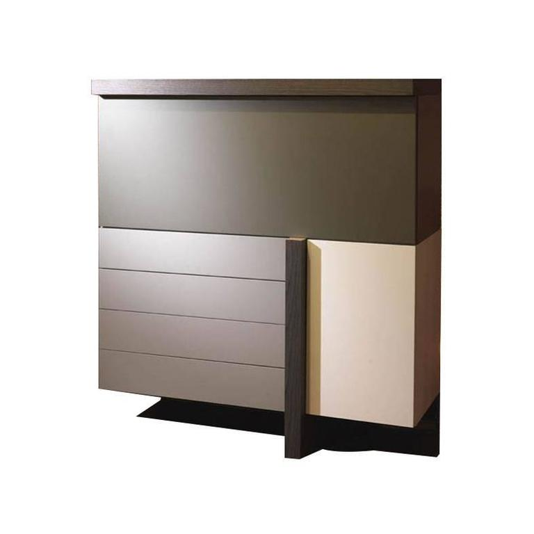 Italian Modern Cabinet Matt Lacquer and Wood Finish, New, Made in Italy