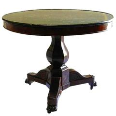 19th Century French Gueridon Table Charles X Mahogany Marble-Top Lion Paw Feet