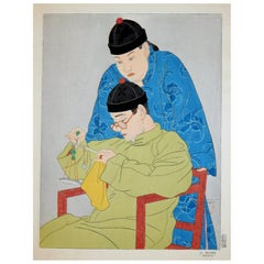 "Paul Jacoulet Color Woodblock Print ""La Balance, Chinois"""