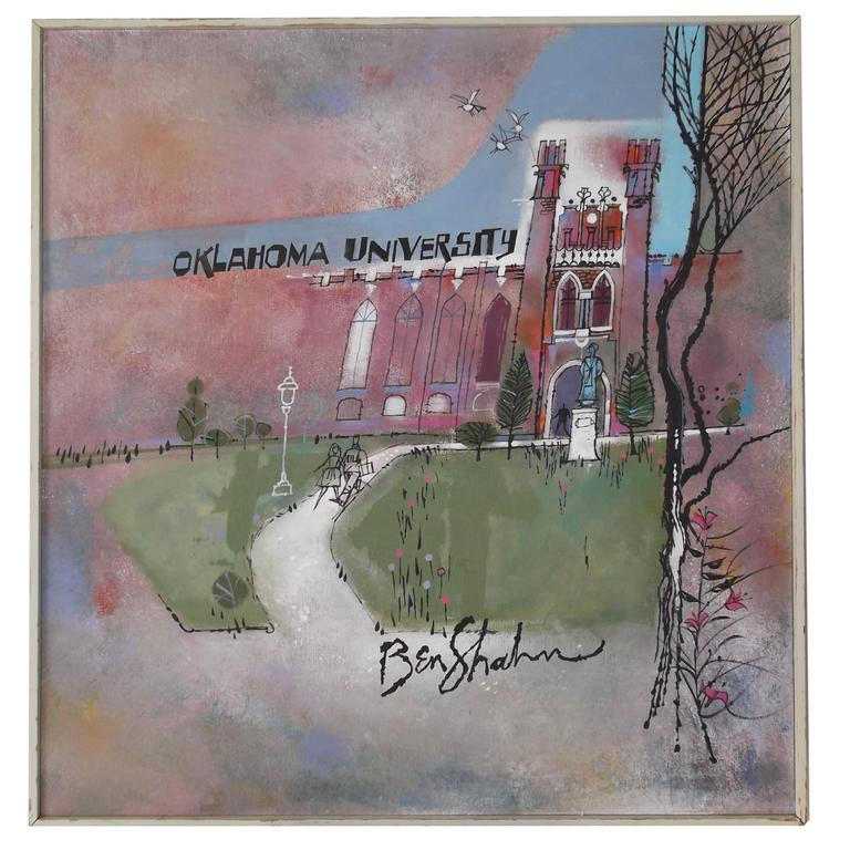 Large Ben Shahn Original Painting Oklahoma University, circa 1960