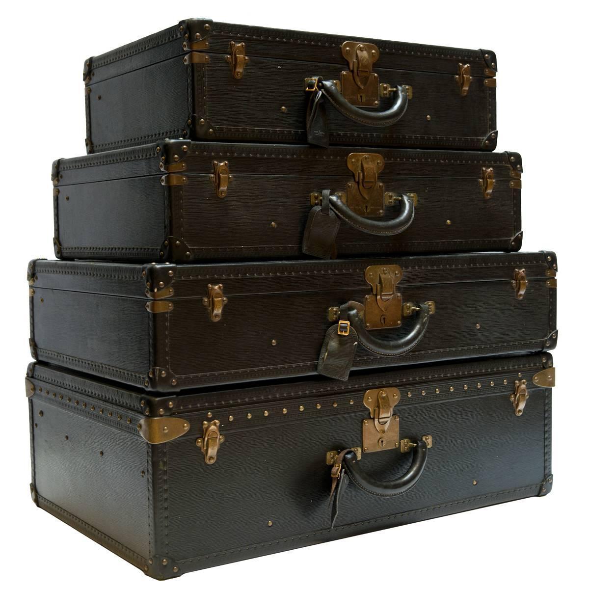 vintage louis vuitton luggage set. vintage louis vuitton black epi leather four-piece luggage set g