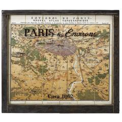 1862 Guittet View and Map of Paris in Antique Windowpane Frame