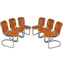 Set of Six Cidue Chrome and Leather Chairs, circa 1970
